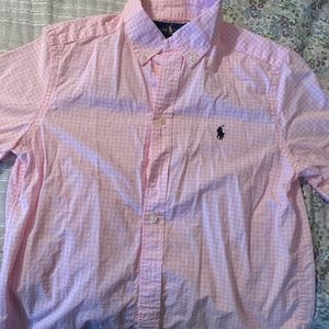 Cotton button up shirt - pink gingham - boys 10/12
